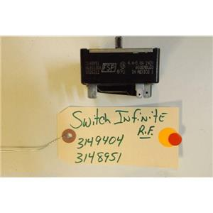 WHIRLPOOL STOVE 3149404  3148951   Switch, Infinite (right Front)  4.4-5.8a used