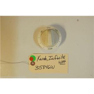 AMANA Stove  315846W Knob, Infinite Switch (wht)   USED PART