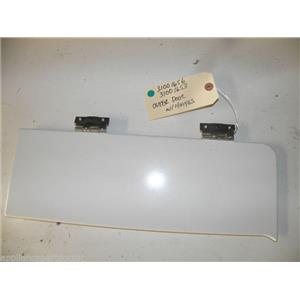 """MAYTAG DRYER 31001656 31001653 OUTER RESERVOIR DOOR, LOWER HINGE """"WHITE"""" USED"""