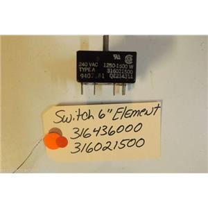 FRIGIDAIRE  STOVE 316436000  316021500  Switch-6`` Element 1250-1500w  USED PART