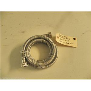 """WASHER STAINLESS BRAIDED HOSE COLD WATER 6', 3/4"""" INLET & OUTLET USED PART"""