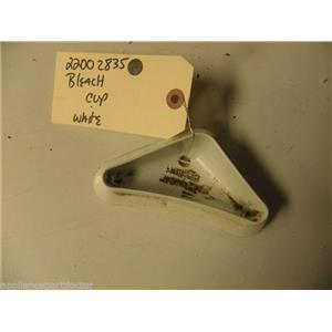 MAYTAG WASHER 22002835 WHITE BLEACH CUP USED PART ASSEMBLY