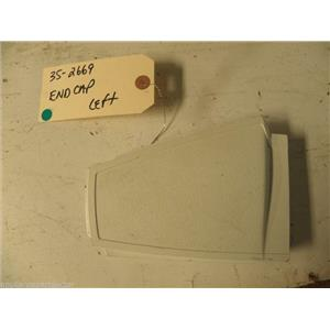 "MAYTAG ELECTRIC DRYER 352669 35-2669 END CAP WHITE ""LT"" USED PART ASSEMBLY"