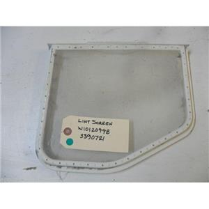 WHIRLPOOL DRYER W10120998 3390721 LINT SCREEN USED PART ASSEMBLY