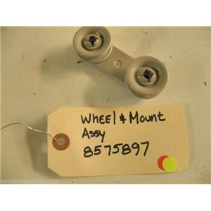WHIRLPOOL DISHWASHER 8575897 WHEEL & MOUNT USED PART ASSEMBLY
