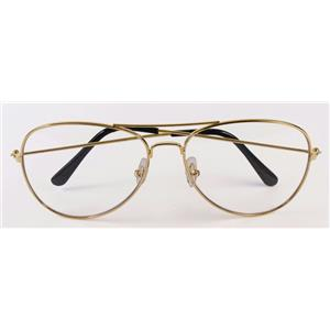 Gold Frame Aviator Glasses with Clear Lens