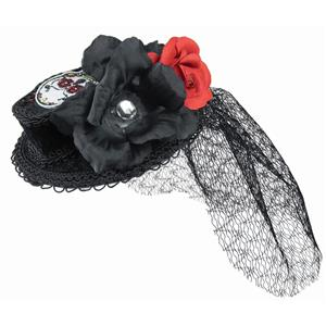 Day of the Dead Mini Coffin Hat with Veil