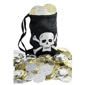 Pirate Coin Bag Costume Accessory with Coins
