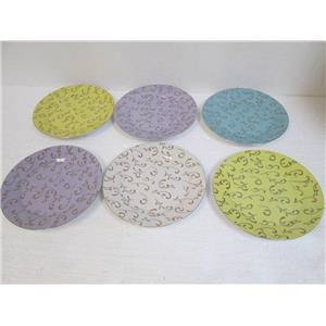"Six Classic Coffee & Tea CC162 Decorative 7-1/2"" Plates Pastels Savannah **NIB**"
