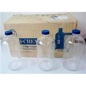 *CASE OF 12* I-CHEM 229-1000 BOSTON ROUND BOTTLES, WITH CAPS, 1000mL 1000 mL -