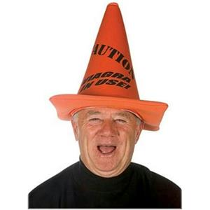 Novelty Caution Orange Traffic Cone Hat Viagra in Use Over The Hill Gag Gift