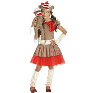Sock Monkey Girl Costume Size Large 10-12