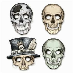 Beistle 01852 4 pack of Assorted Card Stock Skeleton Masks