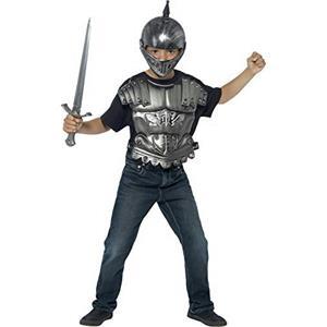 Kids Medieval Armour Accessory Costume Kit Helmet Sword Body Armour Chest Piece