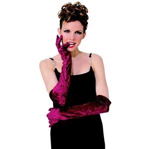 Burgundy Long Velvet Glamour Gloves