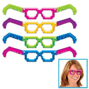 Neon Multicolored 8-Bit Paper Glasses 4 Pack