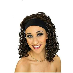 Brown Curly Hair Attached to an Elastic Headband Wig