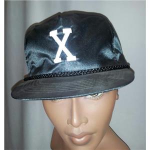 Letter 'X' Shiny Black Adjustable Adult Hat