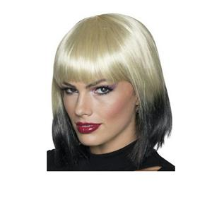 Women's Blonde to Black Ombre Wig with Bangs