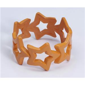 Star Bangle Bracelet Orange Club Candy Neon Colored Plastic