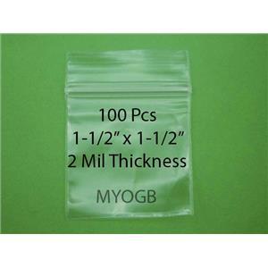 "100pcs 1-1/2"" x 1-1/2"" Zip Lock Plastic Bags-Storage-Jewerly-Parts-Gold Nuggets"