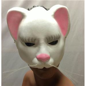White Kitty Cat Eyemask with Whiskers Upper Face Mask