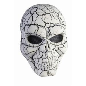 White and Black Cracked Skull Adult Face Mask