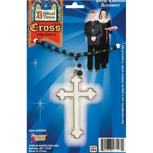 Biblical Times Beaded Cross Necklace Costume Jewelry