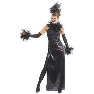 Black Temptation Adult Sequin Costume Dress Glovelets Headpiece Size Small 6-10