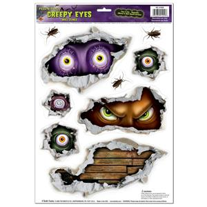 Creepy Eyes Peel N Place Window Cling Stickers Scary