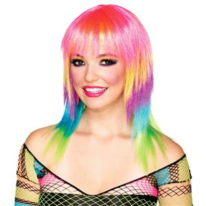 Club Candy: Candi Striped Medium Length Multi Colored Layered Wig with Bangs