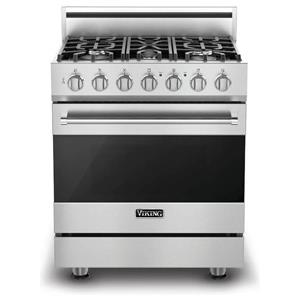 "Viking 30"" Dual Flow Convection Oven Freestanding Dual-Fuel Range RVDR3305BSSLP"