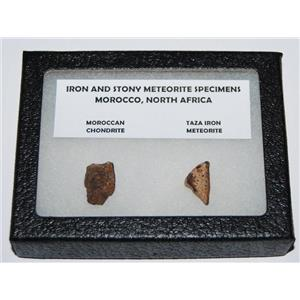 TAZA IRON METEORITE 4.6 gm AND Moroccan STONY 2.4 gm w/ Display Box SDB #1097 6o