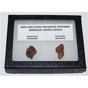 TAZA IRON METEORITE 5.3 gm AND Moroccan STONY 3.5 gm w/ Display Box SDB #1098 6o