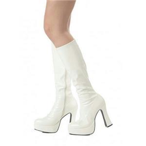 White Platform Go Go Fashion Boots Size Small 5-6