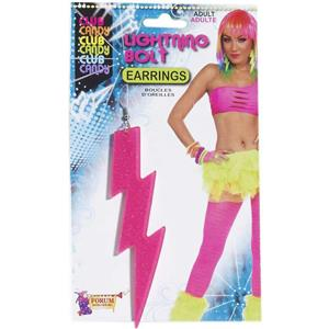 Neon Pink Plastic Glitter Lightning Bolt Earrings Pair
