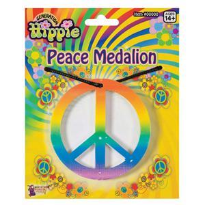 Rainbow Peace Medallion Necklace Hippie Costume Accessory