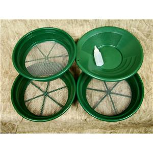 """3 Large Screens 1/4-1/8-1/12"""" Classifiers-Sifting +14"""" Green Gold Pan & Snuffer"""
