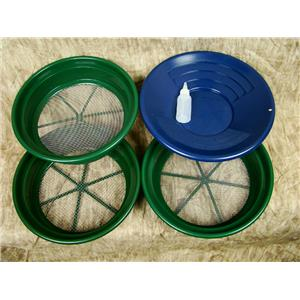 """3 Large Screens 1/4-1/8-1/12"""" Classifiers-Sifting +14"""" Blue Gold Pan & Snuffer"""