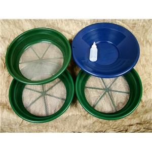 """3 Large Screens 1/8-1/12-1/20"""" Classifiers-Sifting +14"""" Blue Gold Pan & Snuffer"""