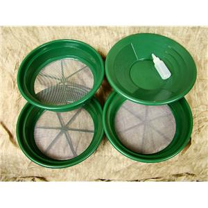 """3 Large Screens 1/12-1/20-1/30""""Classifiers-Sifting +14"""" Green Gold Pan & Snuffer"""