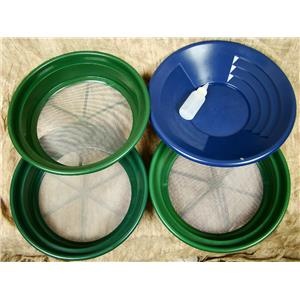 "3 Large Screens 1/20-1/30-1/50""Classifiers-Sifting +14"" Blue Gold Pan & Snuffer"