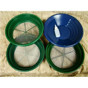 """3 Large Screens 1/8-1/20-1/50""""Classifiers-Sifting +14"""" Blue Gold Pan & Snuffer"""