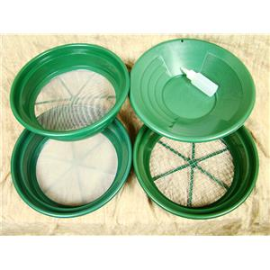 "3 Large Screens 1/2-1/12-1/50""Classifiers-Sifting +14"" Green Gold Pan & Snuffer"