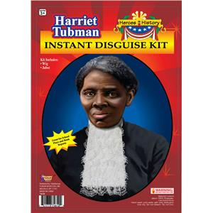 Heroes in History Harriet Tubman Instant Disguise Wig and Jabot Costume Kit