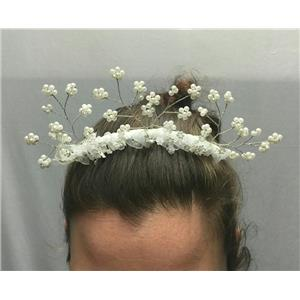 White Wedding Princess Flower Girl Comb Hair Accessory with Flowers