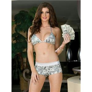 Dreamgirl Women's Sexy Reversible I Love Money Print Bra Short Set Size Small