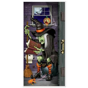 Witch Restroom Door Cover Halloween Decoration