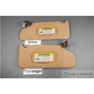 2004-2007 Acura TL Sun Visor Set Pair Covered Lighted Mirror Adjustable Arm Bars