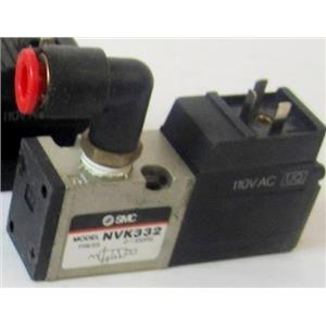 SMC NVK332 AIR PNEUMATIC SOLENOID VALVE, WITH 110VAC SOLENOID, WITH PICTURED FI